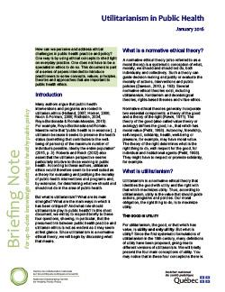 Utilitarianism in Public Health
