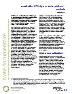 Introduction à l'éthique en santé publique 1 : contexte