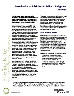Introduction to Public Health Ethics 1: Background