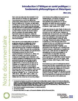 Introduction à l'éthique en santé publique 2 : fondements philosophiques et théoriques