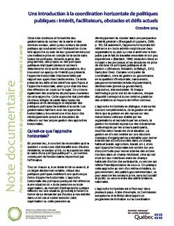 Une introduction à la coordination horizontale de politiques publiques : intérêt, facilitateurs, obstacles et défis actuels