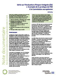 Série sur l'évaluation d'impact intégrée (ÉII) : 2- Exemple de la pratique de l'ÉII à la Commission européenne