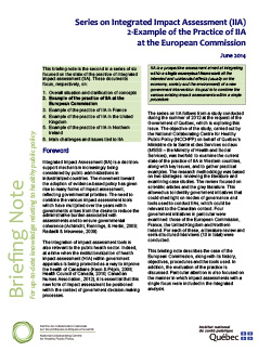 Series on Integrated Impact Assessment (IIA): 2-Example of the Practice of IIA  at the European Commission
