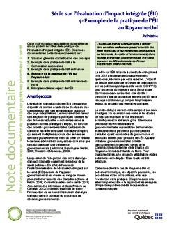 Série sur l'évaluation d'impact intégrée (ÉII) : 4- Exemple de la pratique de l'ÉII au Royaume-Uni