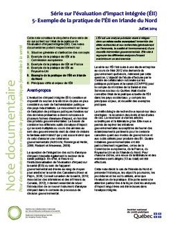Série sur l'évaluation d'impact intégrée (ÉII) 5- Exemple de la pratique de l'ÉII en Irlande du Nord