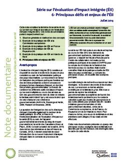 Série sur l'évaluation d'impact intégrée (ÉII) 6- Principaux défis et enjeux de l'ÉII