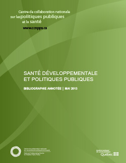 SANTÉ DÉVELOPPEMENTALE  ET POLITIQUES PUBLIQUES