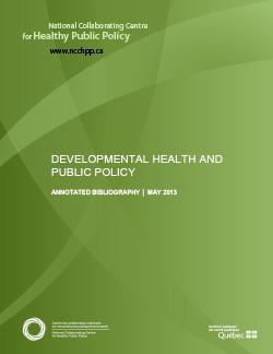 DEVELOPMENTAL HEALTH AND PUBLIC POLICY