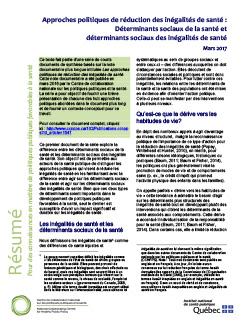 Approches politiques de réduction des inégalités de santé : Déterminants sociaux de la santé et  déterminants sociaux des inégalités de santé