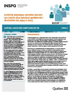 Activité physique aérobie durant les loisirs des adultes québécois : évolution de 1994 à 2014