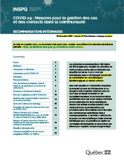 COVID-19 : Mesures pour la gestion des cas et des contacts dans la communauté : recommandations intérimaires