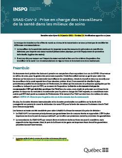 COVID-19 : Prise en charge des travailleurs de la santé dans les milieux de soins