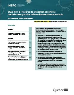 COVID-19 : Mesures de prévention et contrôle des infections pour les milieux de soins aigus