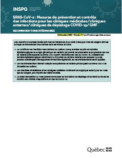SRAS-CoV-2 - Mesures de prévention et contrôle des infections pour les cliniques médicales/cliniques externes/cliniques COVID-19/GMF