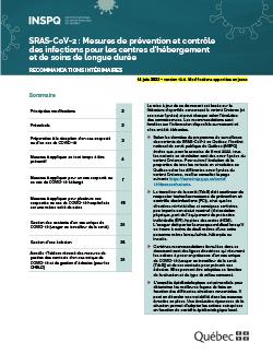 Mesures de prévention et contrôle  des infections pour les centres d'hébergement  et de soins de longue durée