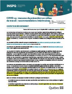 COVID-19 : Mesures de prévention en milieu de travail : recommandations intérimaires