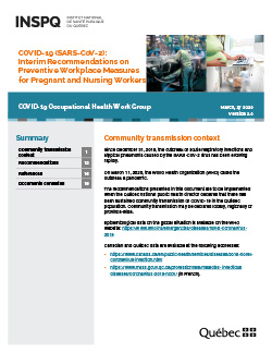 Interim Recommendations on Preventive Workplace Measures for Pregnant and Nursing Workers