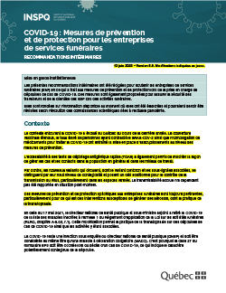 COVID-19 : Mesures de prévention et de protection pour les entreprises de services funéraires