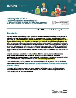 Recommandations intérimaires pour la protection des travailleurs immunosupprimés