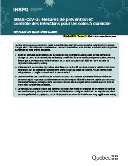 SRAS-CoV-2 : Mesures de prévention et  contrôle des infections pour les soins à domicile