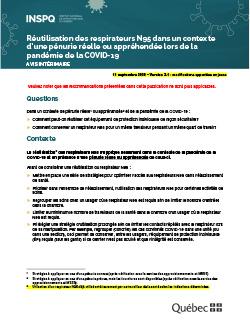 Réutilisation des respirateurs N95 dans un contexte d'une pénurie réelle ou appréhendée lors de la pandémie de la COVID-19
