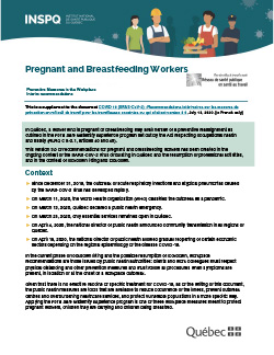 COVID-19: Interim Recommendations on Preventive Workplace Measures for Pregnant and Nursing Workers - Summary