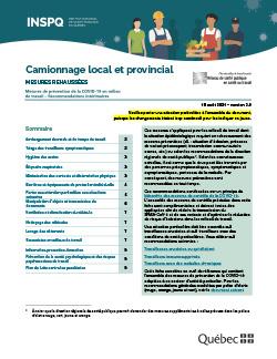 COVID-19 : Recommandations intérimaires concernant les camionneurs locaux et provinciaux