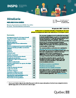 COVID-19 : Recommandations intérimaires concernant les travailleurs du secteur de l'hôtellerie