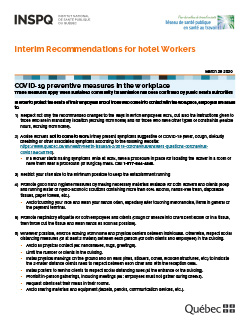 Interim Recommendations for hotel Workers