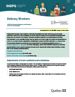 COVID-19: Interim Recommendations for Home Delivery Workers (packages, restaurant delivery, groceries, etc.)