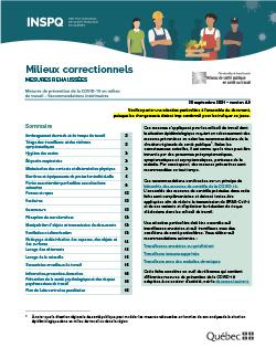 COVID-19 : Recommandations intérimaires à l'intention des travailleurs des milieux correctionnels