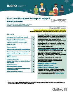 COVID-19 : Recommandations intérimaires concernant les chauffeurs dans l'industrie du taxi et covoiturage, tel UBER, Centre d'action bénévole/transport (CAB) et transport adapté