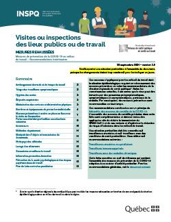 COVID-19 : Recommandations intérimaires à l'intention des travailleurs effectuant des visites d'inspection ou de service dans un lieu de travail ou un lieu public