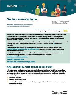 COVID-19 : Recommandations intérimaires concernant les secteurs manufacturiers essentiels