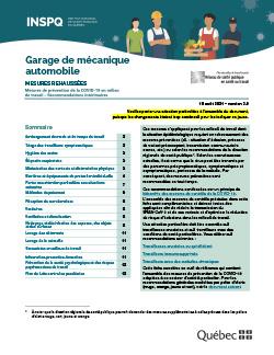 Recommandations intérimaires concernant les garages de mécanique automobile
