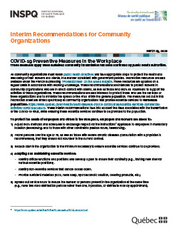COVID-19: Interim Recommendations for Community Organizations