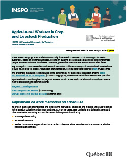 COVID-19: Interim Recommendations for Agricultural Workers in Crop and Livestock Production