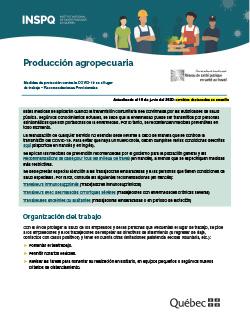 COVID-19 : Producción agropecuaria - Medidas de protección en el lugar de trabajo