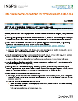 COVID-19: Interim Recommendations for Workers in Gas Stations