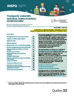 COVID-19 : Recommandations intérimaires concernant les travailleurs des transports collectifs - autobus, trains et métro