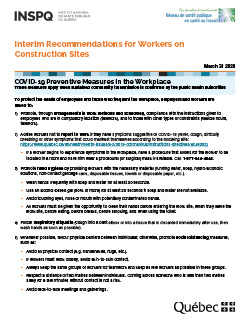 COVID-19: Interim Recommendations for Workers on Construction Sites