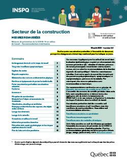 Secteur de la construction - mesures de prévention de la COVID-19 en milieu de travail