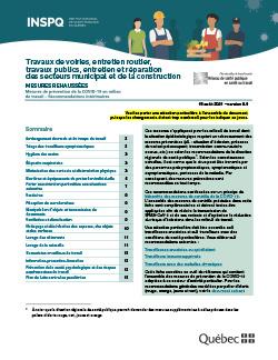 Travaux de voiries, entretien routier, travaux publics, entretien et réparation des secteurs municipal et de la construction - Mesures de prévention de la COVID-19 en milieu de travail