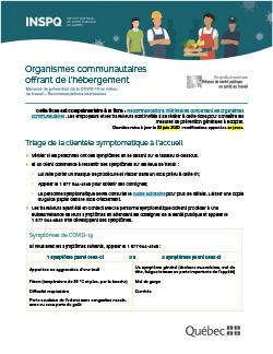 Organismes communautaires offrant de l'hébergement : mesures de prévention de la COVID-19 en milieu de travail