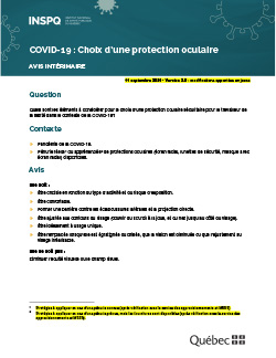 COVID-19 : Choix d'une protection oculaire