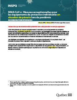 COVID-19: Mesures exceptionnelles pour les équipements de protection individuelle en situation de pénurie lors de pandémie