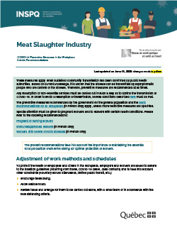 COVID-19: Interim Recommendations for the Meat Slaughter Industry