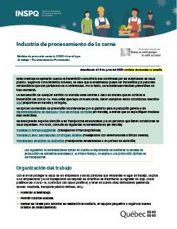 COVID-19 : Industria de procesamiento de la carne - Medidas de protección en el lugar de trabajo