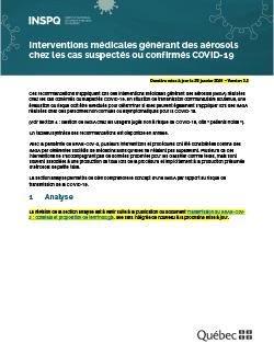 Interventions médicales générant des aérosols chez les cas suspectés ou confirmés COVID-19