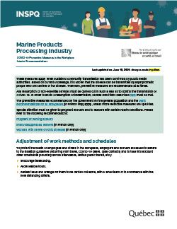 COVID-19: Interim Recommendations for Workers in the Marine Products Processing Industry